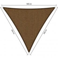Toldo vela de exterior triangular 3,6 x 3,6 x 3,6 m marrón