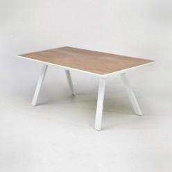 Mesa para exterior de aluminio y cerámica blanco