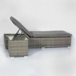 Tumbona de ratán para exterior color gris y antracita