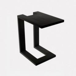 Mesa auxiliar de aluminio negro para exterior