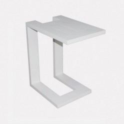 Mesa auxiliar de aluminio blanco para jardín
