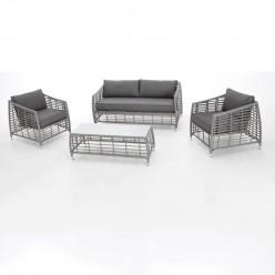 Conjunto sofás jardín aluminio y fibra Logan