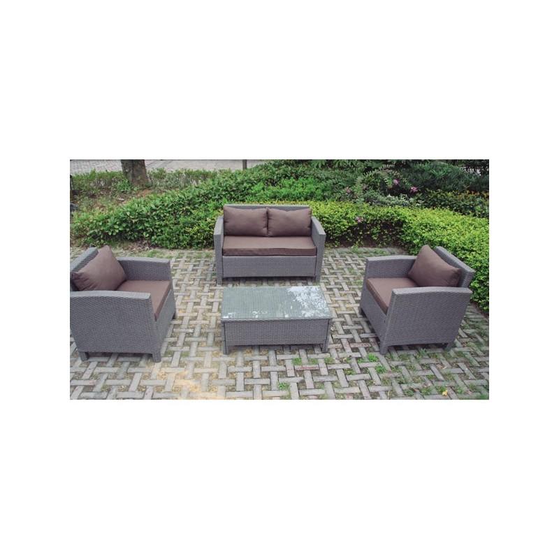 Conjunto para terraza sofas fibra gris chihuahua for Conjunto sofa terraza