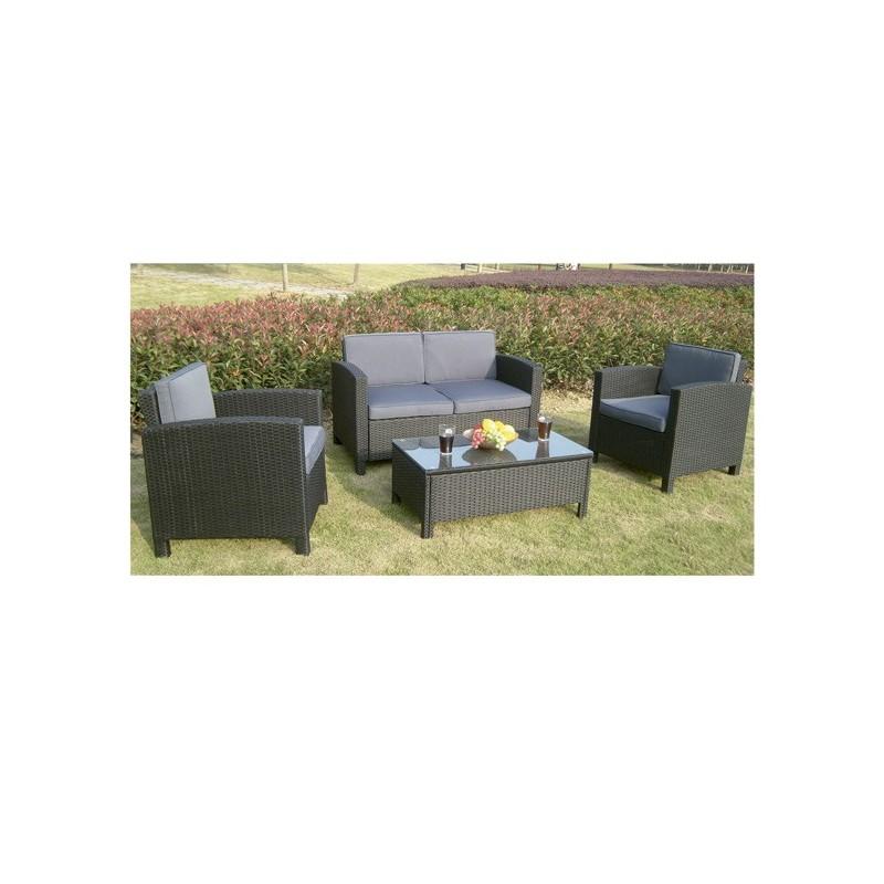 Conjunto sofas para jardin fibra negro atlanta for Sofas para jardin