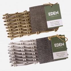 Muestra de fibra sintética de ratán para exterior