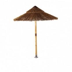 Parasol fijo redondo de madera y caña sudafricana 200 cm