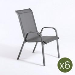 Pack 6 sillones de exterior apilable Malmo
