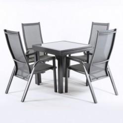 Conjunto mesa extensible 80/160 y 4 sillones jardín reclinables Antracita