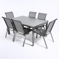 Conjunto de jardín. Mesa extensible y 6 sillones apilables Antracita