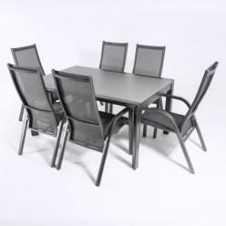 Conjunto para jardín. Mesa extensible 160/210 y 6 sillones reclinables Antracita