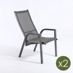 Sillón para jardín reclinable Antracita - Pack 2 unidades