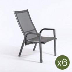 Sillón para jardín reclinable Antracita - Pack 6 unidades