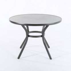 Mesa redonda para terraza de aluminio y cristal Boden Antracita