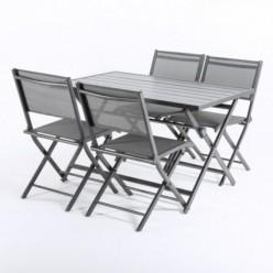 Conjunto de jardín de mesa y 4 sillas de aluminio plegables Antracita