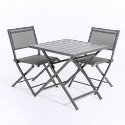 Conjunto de exterior de mesa y 2 sillas de aluminio plegables Antracita