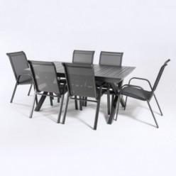 Conjunto de jardín con mesa extensible 170-240 y 6 sillones apilables Antracita