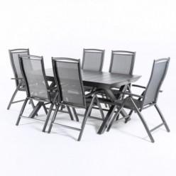 Conjunto para jardín. Mesa extensible y 6 sillones reclinables Antracita