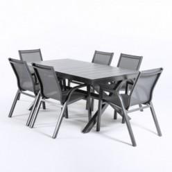 Conjunto de jardín de mesa extensible 170-240 y 6 sillones reforzados Antracita