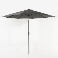 Parasol de exterior redondo 300 cm gris con funda