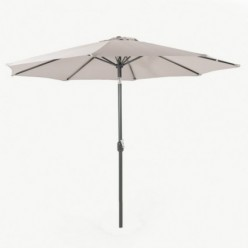 Parasol de terraza redondo 300 cm gris claro con funda