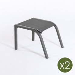 Reposapies apilable para exterior Antracita - Pack 2 unidades