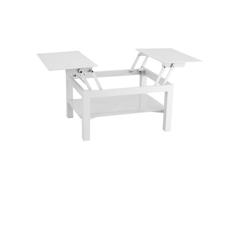 Mesa centro de terraza verona foggy glass for Muebles exterior aluminio blanco