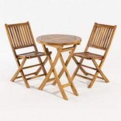 Conjunto mesa jardín y 2 sillas teca