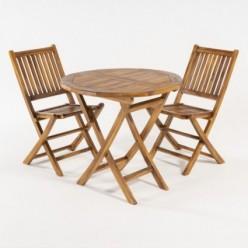 Conjunto mesa jardín redonda y 2 sillas teca