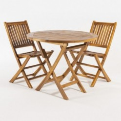 Conjunto muebles de teca. Mesa redonda 90 y 2 sillas plegables