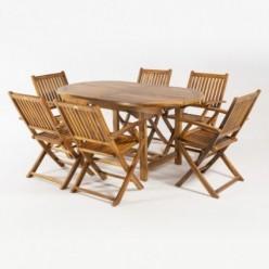 Conjunto mesa extensible y 6 sillones teca de jardín plegables