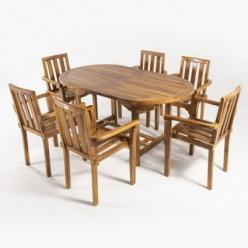 Conjunto mesa extensible y 6 sillones de jardín Texas