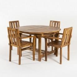 Conjunto teca mesa redonda extensible y 4 sillones
