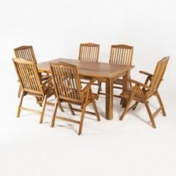Conjunto mesa teca extensible 180/240 y 6 sillones reclinables
