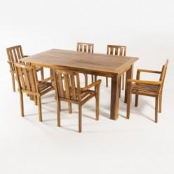 Conjunto mesa extensible Bistro y 6 sillones para jardín