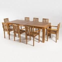 Conjunto teca mesa Bistro 240 y 8 sillones apilables