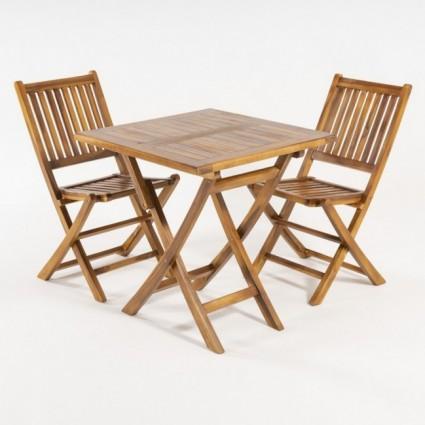 Conjunto terraza mesa de teca cuadrada 70 cm y 2 sillas plegables
