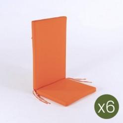 Cojín posiciones de jardín estándar naranja - Pack 6 unidades