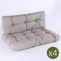 Cojines para palets asiento y respaldo Lux capuccino - Pack 4 unidades