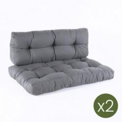 Cojines para palets asiento y respaldo Olefin gris - Pack 2 unidades