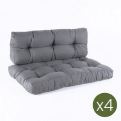 Cojines para palets asiento y respaldo Olefin gris - Pack 4 unidades