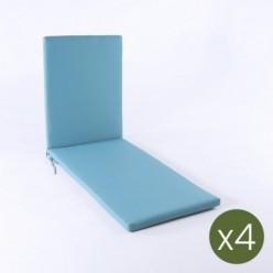 Cojín para tumbona de jardín estándar turquesa - Pack 4 unidades