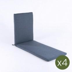 Cojín tumbona para exterior olefín azul - Pack 4 unidades