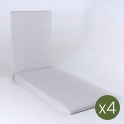 Cojín para exterior tumbona olefín gris claro - Pack 4 unidades