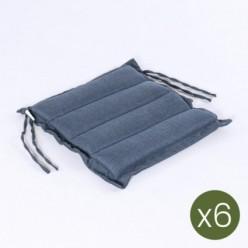 Cojín asiento de jardín Olefin azul de 37 cm - Pack 6 unidades