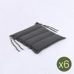Cojín asiento para jardín Olefin gris de 37 cm - Pack 6 unidades