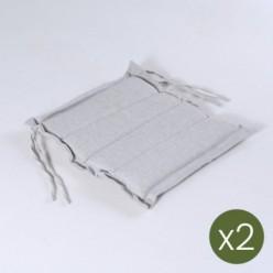 Cojín asiento de exterior 37 cm Olefin gris claro - Pack 2 unidades