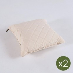 Cojín decorativo estándar de exterior 40x40 color crema- Pack 2 unidades