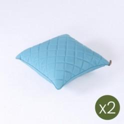 Cojín decorativo de exterior estándar 40x40 color turquesa - Pack 2 unidades