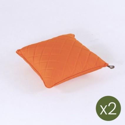 Cojín decorativo para exterior estándar 40x40 color naranja - Pack 2 unidades