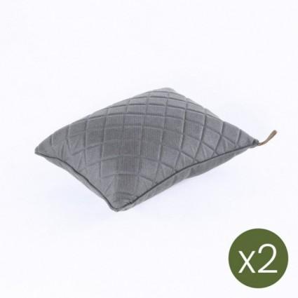 Cojín decorativo de jardín 40x50 olefín gris - Pack 2 unidades